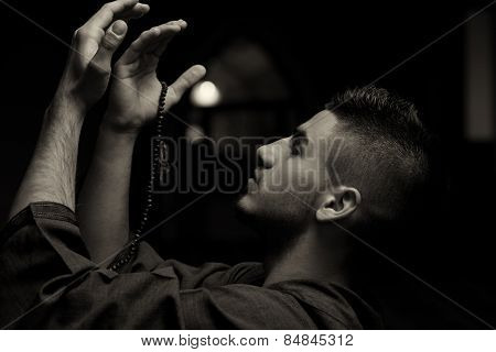 Young Muslim Man Praying
