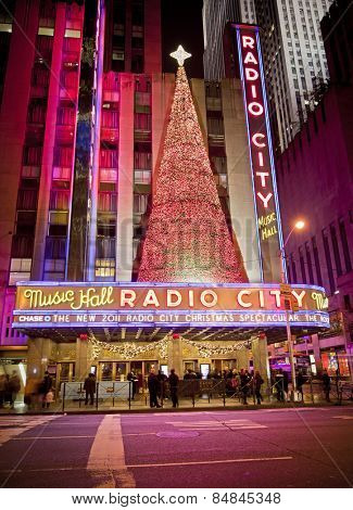 NEW YORK CITY - OCT 13: Radio City Music Hall, is the worlds largest indoor theater displaying this years Christmas tree decoration, October 13th, 2011 in Manhattan, New York City.