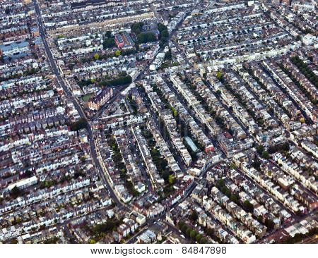 Aerial view of London streets in daytime