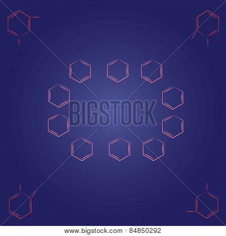 Molecule benzene ortho meta standing pink circle frame