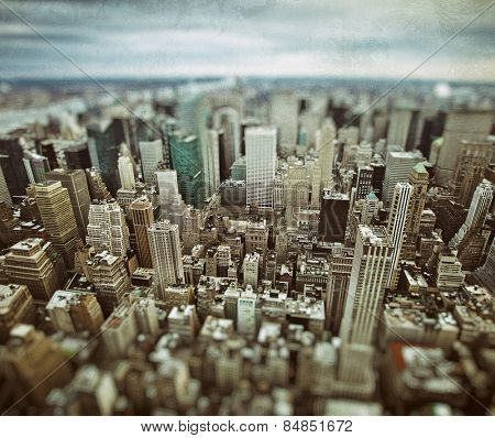 Midtown and lower Manhattan in New York City with grunge vintage overlay effect