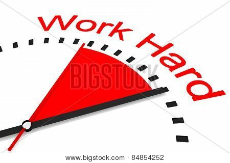 Clock With Red Seconds Hand Area Work Hard Illustration