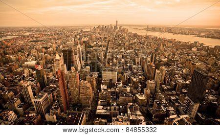 New York city skyline with orange filter