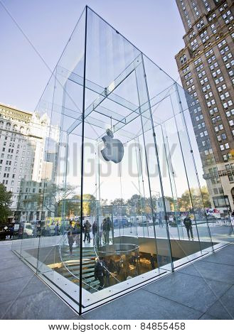 NEW YORK, USA - NOVEMBER 13th, 2014: Apple Store cube on 5th Avenue, New York