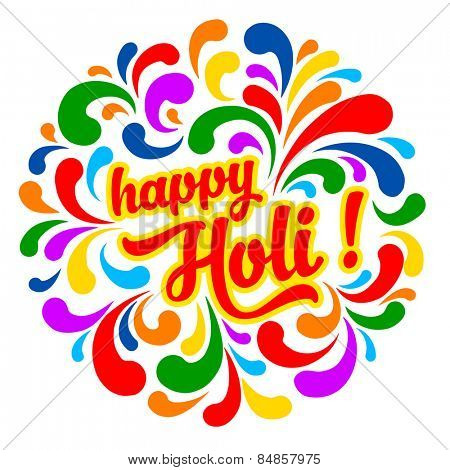 Colorful festive Holi splash abstract background with Holi lettering. Indian traditional festival greeting card, banner, template design.