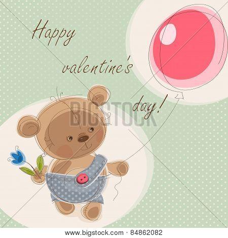 Valentine card with teddy bear
