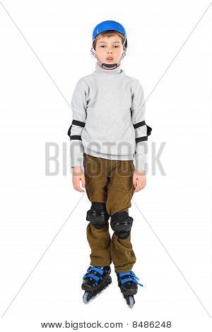 Little Boy With Opened Mouth In Blue Helmet Rollerblading Isolated On White