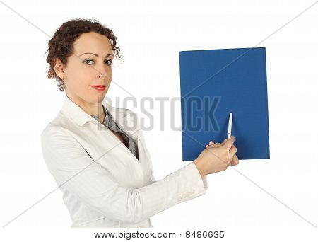 Young Beauty Woman In Business Dress, Pointing On Blue Folder For Pen, Half Body, Isolated On White