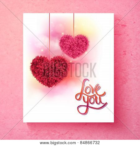 Two romantic floral hearts - Love You