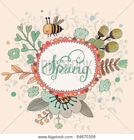 Lovely spring concept card. Awesome flowers and bee made in watercolor technique. Bright romantic card with summer flowers in vector. Charming Save the Date background