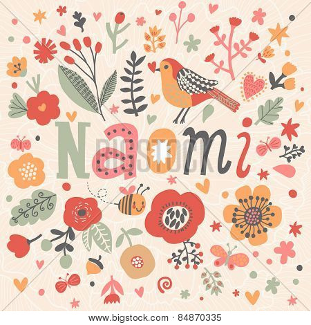 Bright card with beautiful name Naomi in poppy flowers, bees and butterflies. Awesome female name design in bright colors. Tremendous vector background for fabulous designs