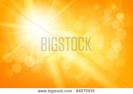 Nature sunny abstract summer background with sun and bokeh