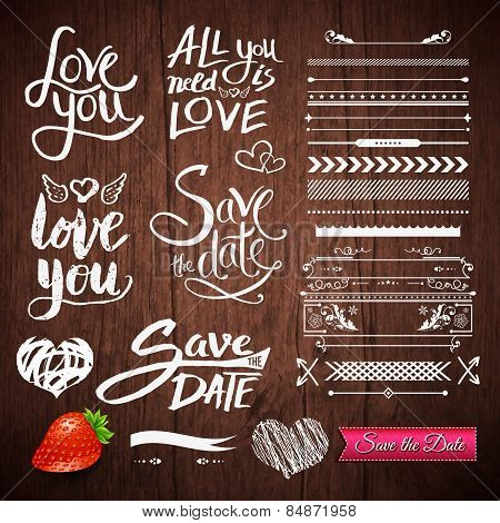 Love Texts, Borders, Symbols on Wooden Background