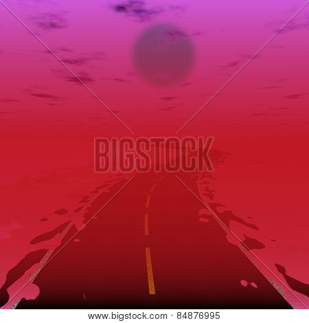 Sci-fi Illustration Of Road In Radiation World