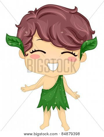 Illustration of a Little Boy Wearing a Costume Made of Leaves