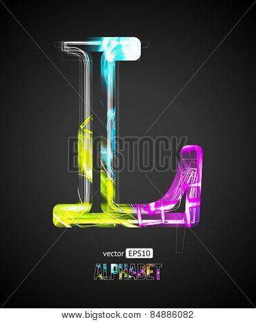 Vector Design Light Effect Alphabet. Letter L on a Black Background.