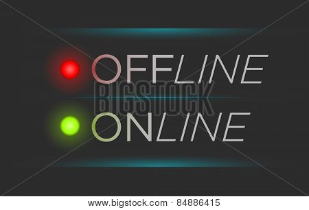 Vector illustration of simple offline and online banner