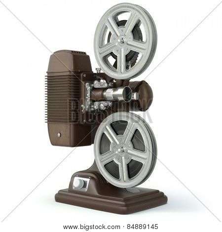 Vintage film movie projector isolated on white. 3d