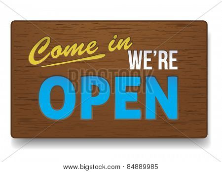 Open sign made of wood. Vector illustration.