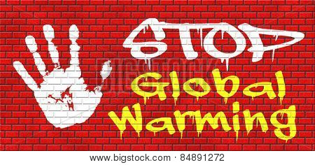 stop global warming and climate change carbon neutral go green energy solar or wind power  green house effect no pollution graffiti on red brick wall, text and hand poster