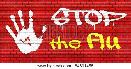 flu vaccination shot stop the virus vaccine for immunization graffiti on red brick wall, text and hand poster