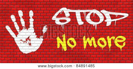 no more pain suffering disappointment, last time never again stop forever grafitty on red brick wall, text and hand graffiti on red brick wall, text and hand
