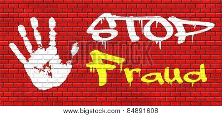 fraud bride and political or police corruption money corrupt cyber or internet crime graffiti on red brick wall, text and hand