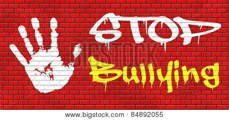stop bullying graffiti no bullies prevention against school work or in the cyber internet harassment graffiti on red brick wall, text and hand.