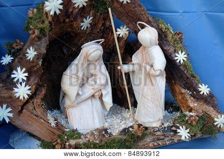 BAD ISCHL, AUSTRIA - DECEMBER 14: Nativity scene, creche, or crib, is a depiction of the birth of Jesus, Bad Ischl, Austria on December 14, 2014.