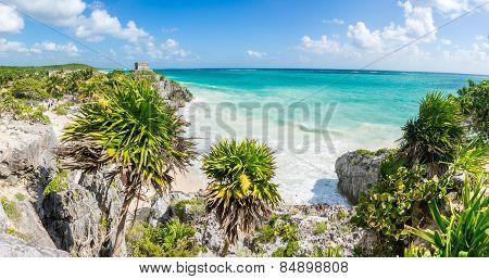 Huge Panorama Of Tulum Caribbean Paradise And Mayan Ruins. Traveling Mexico.