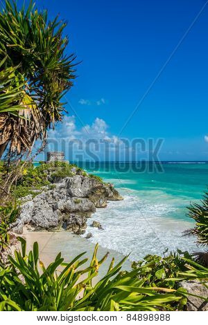 Caribbean View Of Tulum Mayan Ruins And Beach, Perfect Paradise, Traveling Mexico.