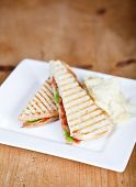 Fresh toasted panini blt sandwich with grill marks poster