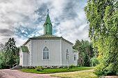 Reposaari. Finland. Lutheran church in Norwegian mountain style. Reposaari is a small neighbourhood of Pori poster