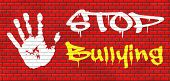 stop bullying graffiti no bullies prevention against school work or in the cyber internet harassment graffiti on red brick wall, text and hand. poster