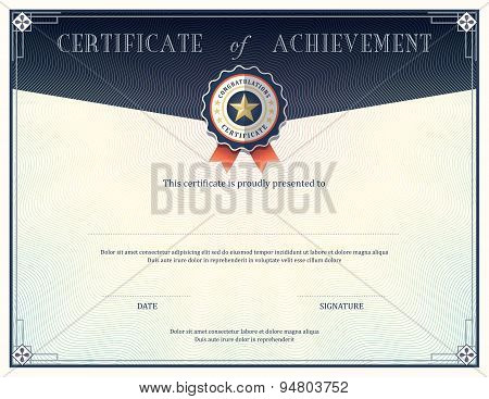 Certificate of achievement diploma frame design template poster