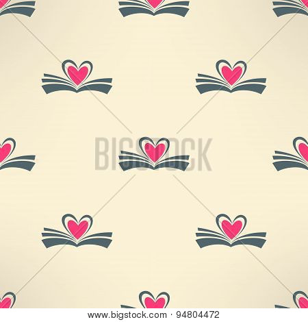 Vector book with heart made of pages seamless pattern. Love reading concept background