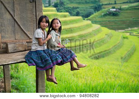 H'mong ethnic minority children in Mucangchai, Vietnam
