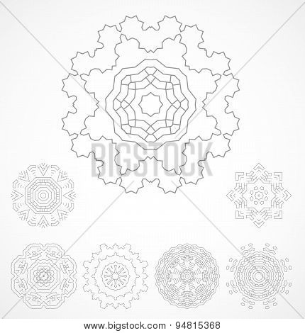 Set of geometric outline rosetta ornamet
