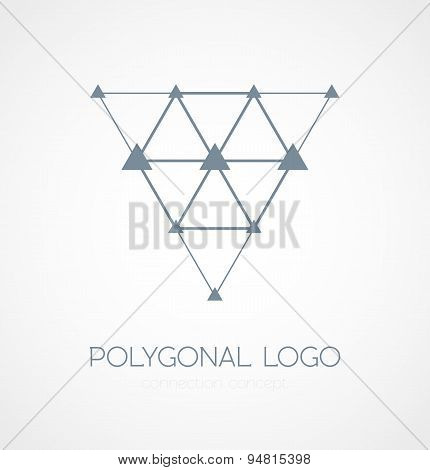 Abstract triangle connection concept icon logo