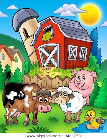 Farm Animals Near Barn