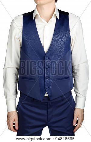 Blue Vegetable Patterned Jacquard Waistcoat For Mens Wedding Suit Groom