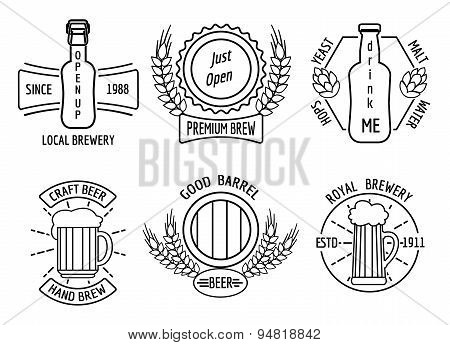 Line logo templates for beer house and craft brewery. Beverage emblem or logotype, restaurant and bar, bottle lager, pub and ale, vector illustration poster