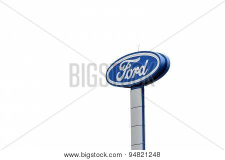 Chaingrai, Thailand - June 25, 2015: Large Ford Logo Sign Isolated On White Background