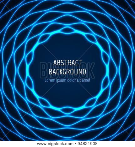 Abstract blue circle wavy border background with light effects