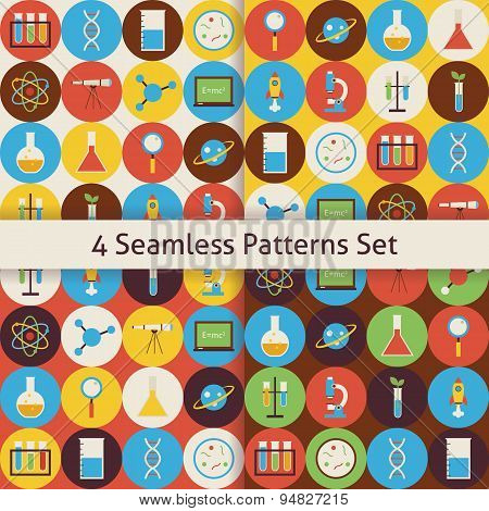 Four Vector Flat Seamless  Science And Education Patterns Set With Colorful Circles