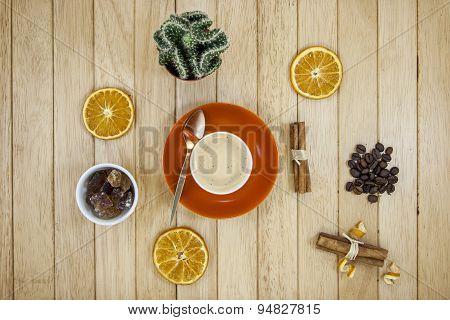 Coffee With Cinnamon, Orange And Sugar
