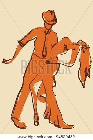 Latin Salsa Dancers. Illustration of a Dancing Couple poster