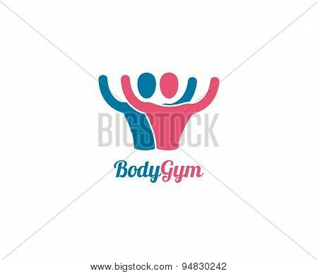 Abstract vector logo elements. Sport, men, power and command. Stock illustration for design
