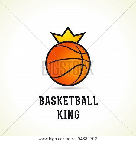 Basketball vector logo. Branding symbol of teams, national competitions, union, matches, leagues or sport equipment shop. Children's schools, kid's sport clubs or junior's tour icon.