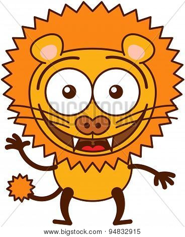 Cute lion smiling and waving animatedly